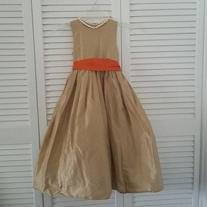 Other - Gold Formal dress with orange bow
